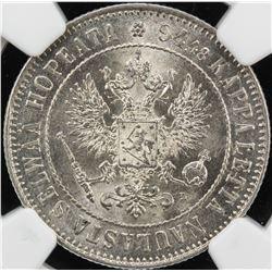 FINLAND: Nicholas II, 1894-1917, AR markka, 1907-L, KM-3.3, NGC graded MS64