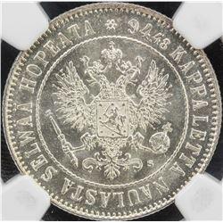 FINLAND: Nicholas II, 1894-1917, AR markka, 1915-S, KM-3.3, NGC graded MS64
