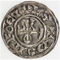 FRANCE (MEDIEVAL): DEOLS (CHATEAUROUX): Eudes l'Ancien, 1012-1044, AR denier (1.19g). EF-AU