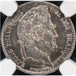 FRANCE: Louis Philippe I, 1830-1848, AR 1/4 franc, 1832-A. NGC MS64