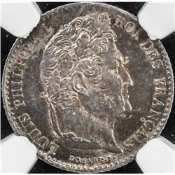FRANCE: Louis Philippe I, 1830-1848, AR 1/4 franc, 1832-A. NGC MS64