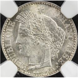FRANCE: AR 20 centimes, 1850-A. NGC MS64