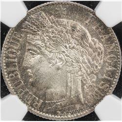 FRANCE: AR franc, 1872-A. NGC MS65