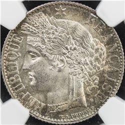 FRANCE: AR franc, 1872-A. NGC MS64