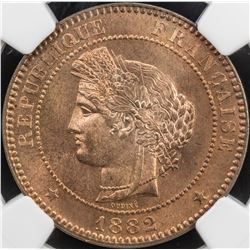 FRANCE: AE 10 centimes, 1882-A. NGC MS65