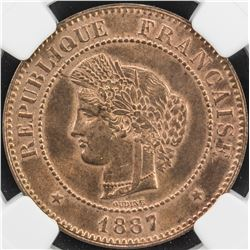 FRANCE: AE 5 centimes, 1887-A. NGC MS64