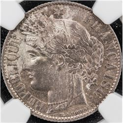 FRANCE: Third Republic, AR franc, 1872-A. NGC MS62