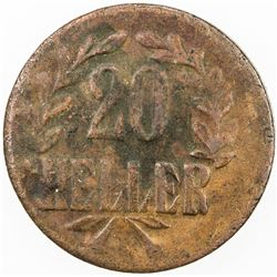 GERMAN EAST AFRICA: AE 20 heller, 1916-T. EF