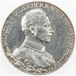 GERMANY: PRUSSIA: Wilhelm II, 1888-1918, AR 3 mark, 1913-A. PF