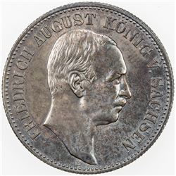 GERMANY: SAXONY: Friedrich August III, 1904-1918, AR 2 mark, 1914-E. UNC