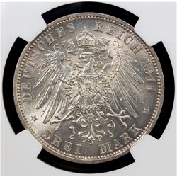 GERMANY: SCHAUMBURG-LIPPE: Albrecht Georg, 1893-1911, AR 3 mark, 1911-A. NGC UNC