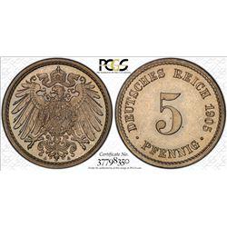 GERMANY: Kaiserreich, 5 pfennig, 1905-A. PCGS PF66