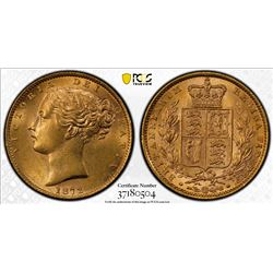GREAT BRITAIN: Victoria, 1837-1901, AV sovereign, 1872. PCGS MS62