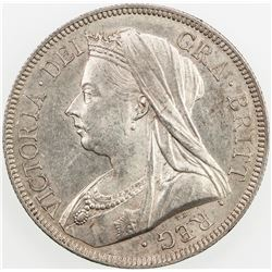 GREAT BRITAIN: Victoria, 1837-1901, AR half crown, 1893. AU