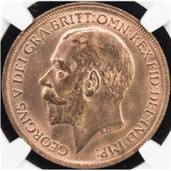 GREAT BRITAIN: George V, 1910-1936, AE penny, 1917. NGC MS65