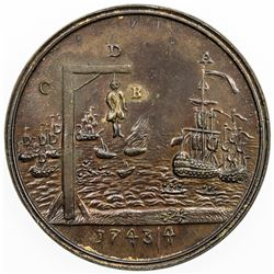 GREAT BRITAIN: EXONUMIA: AE medal (14.04g), 1743/4. AU