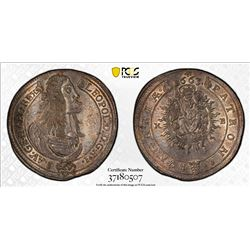 HUNGARY: Leopold I, 1657-1705, AR 15 krajczar, Kremnitz, 1663-KB. PCGS MS63