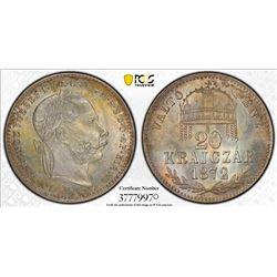 HUNGARY: Ferenc Jozsef, 1848-1916, AR 20 krajczar, 1872. PCGS MS65