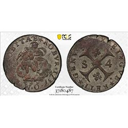 ITALIAN STATES: GENOA: Republic, BI 4 soldi, 1737. PCGS AU58