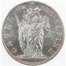 ITALIAN STATES: PIEDMONT REPUBLIC: AR 5 francs, L'AN 10 (1802). VF-EF