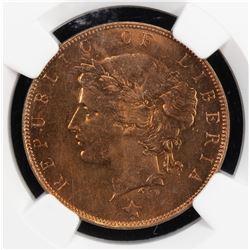 LIBERIA: Republic, AE cent, 1896-H. NGC MS65