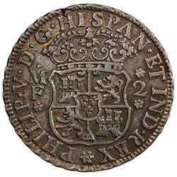 MEXICO: Felipe V, 1700-1746, AR 2 reales, 1738-Mo. VF