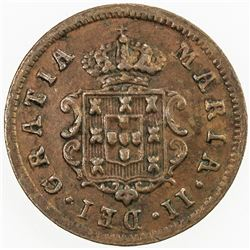 MOZAMBIQUE: Maria II, 1834-1853, AE real, 1853. VF-EF