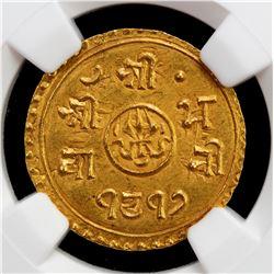 NEPAL: Prithvi Vira Vikrama, 1881-1911, AV 1/2 mohar (2.77g), SE1817. NGC MS63