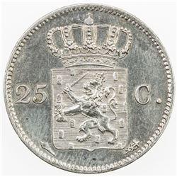 NETHERLANDS: Willem I, 1815-1840, AR 25 cents, 1826. EF-AU