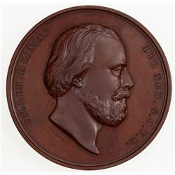 NETHERLANDS: Willem III, 1849-1890, AE medal (198.4g), 1856. UNC