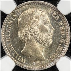 NETHERLANDS: Willem III, 1849-1890, AR 10 cents, 1885. NGC MS65