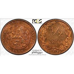 NETHERLANDS: Wilhelmina, 1890-1948, AE 1/2 cent, 1906. PCGS MS66