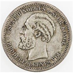 NORWAY: Oscar II, 1872-1907, AR krone, 1893. VF