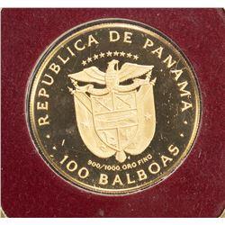 PANAMA: Republic, AV 100 balboas (8.16g), 1975, KM-41, AGW: 0.2361oz, proof