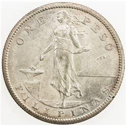 PHILIPPINES: U.S. Territory, AR peso, 1908-S. AU