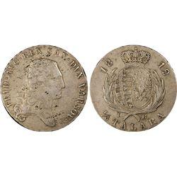POLAND: Friedrich August I, of Saxony, 1807-1814, AR 1/3 talara, 1812. PCGS VF35