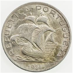 PORTUGAL: Republic, AR 5 escudos, 1934. AU