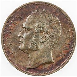 SARAWAK: James Brooke, 1841-1868, AE cent, 1863. VF-EF