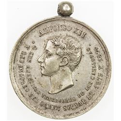 SPAIN: Alfonso XII, 1874-1885, AR medal, 1874