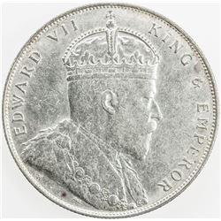 STRAITS SETTLEMENTS: Edward VII, 1901-1910, AR dollar, 1907-H. EF-AU