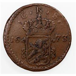 SWEDEN: Karl XI, 1660-1697, AE ore, Avesta mint, 1673. F