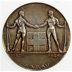 SWISS CANTONS: AARGAU: AE medal (51.68g), 1924. EF