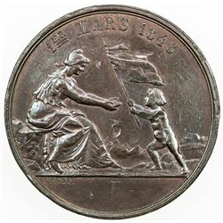 SWISS CANTONS: NEUCHATEL/NEUENBURG: AE medal (22.84g), 1863. AU