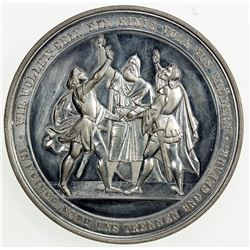 SWISS CANTONS: NEUCHATEL/NEUENBURG: medal (41.52g), 1868. AU