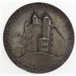 SWISS CANTONS: VALAIS: AR medal (48.92g), 1928