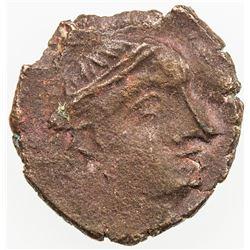 MEDIEVAL CEYLON: Anonymous, 3rd-4th century AD, AE unit (1.17g). VF