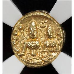 MEDIEVAL INDIA: VIJAYANAGAR: Hari Hara II, 1377-1404, AV 1/2 pagoda, ND. NGC MS62