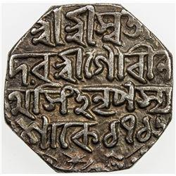 ASSAM: Gaurinatha Simha, 1780-1795, AR rupee (11.51g), SE1716 (1794). VF-EF
