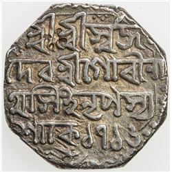 ASSAM: Gaurinatha Simha, 1780-1795, AR rupee (11.36g), SE1716 (1794), year 1. VF-EF