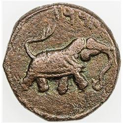 MYSORE: Tipu Sultan, 1782-1799, AE paisa (11.01g), Faiz-Hisar, AM1221. VF